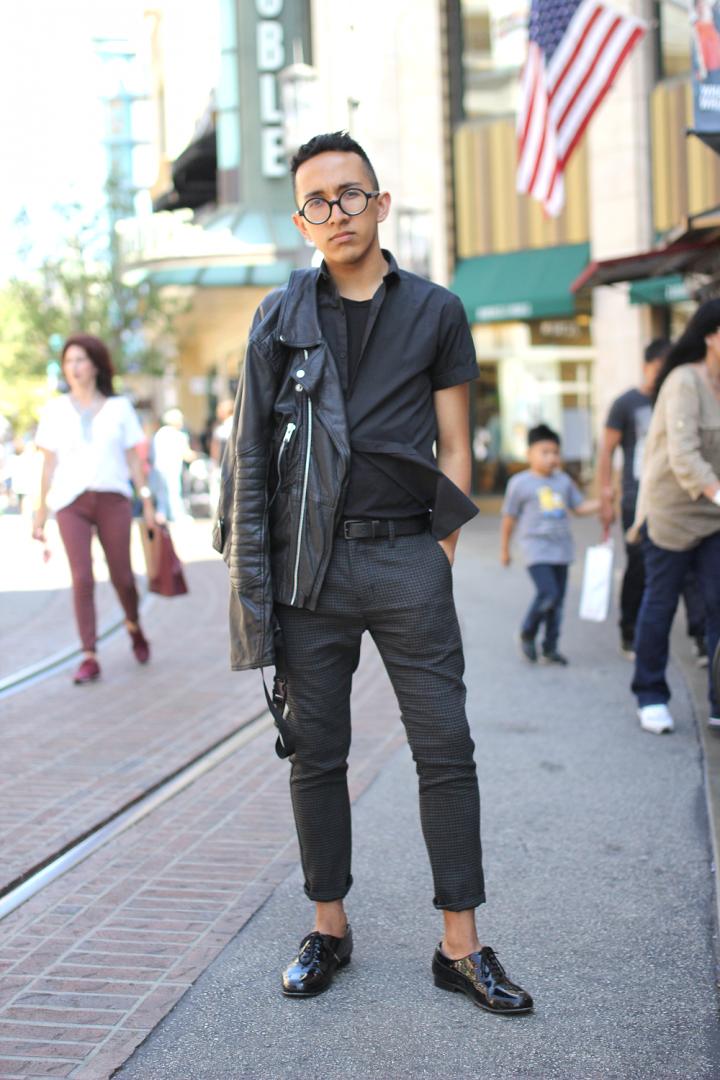 Black, leatherjacket, losangeles, minimal, Motorcyclejacket, SanteeAlley, street style, thegrove, Topman