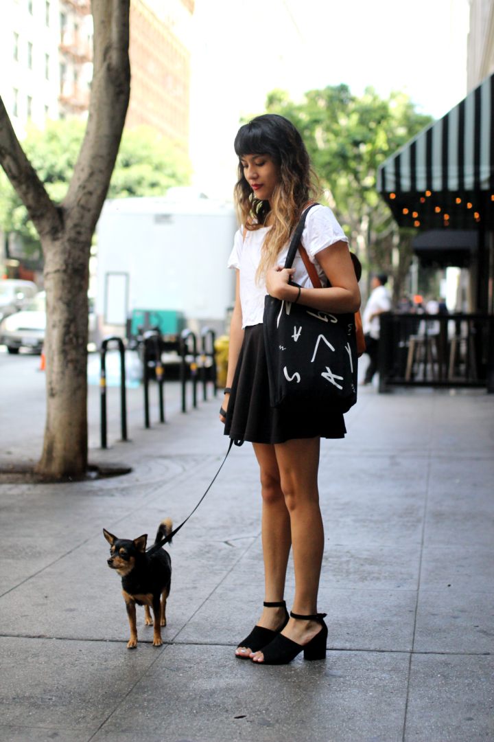 Dog, dtla, Nasty Gal, Shoes, Skirt, Spring, street style, Topshop, Tshirt, Urban Outfitters