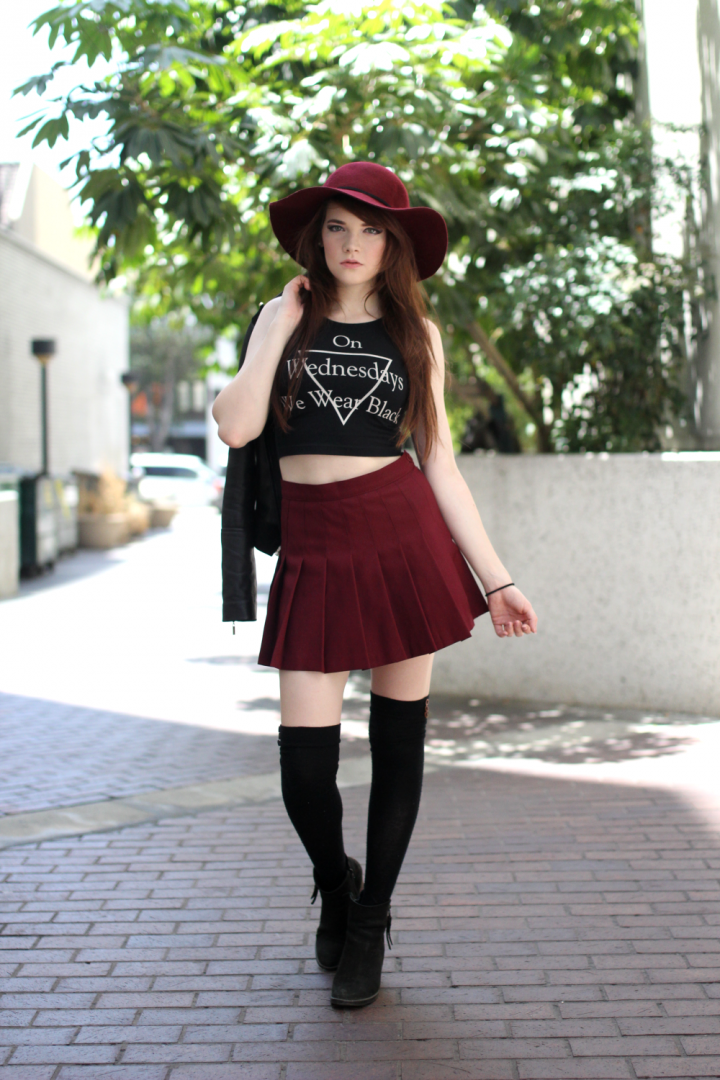 American Apparel, Boots, Crop Top, Forever21, Hat, Jacket, Little Tokyo, Los Angeles, Marciano, MYVL, Skirt, Socks, Steve Madden, street style, Urban Outfitters