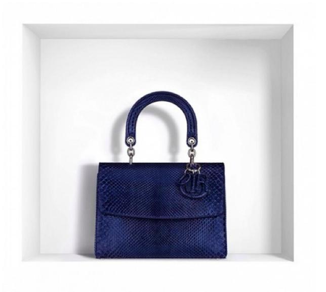 "Dior Small ""Be Dior"" Bag in Bleu de Minuit Python"