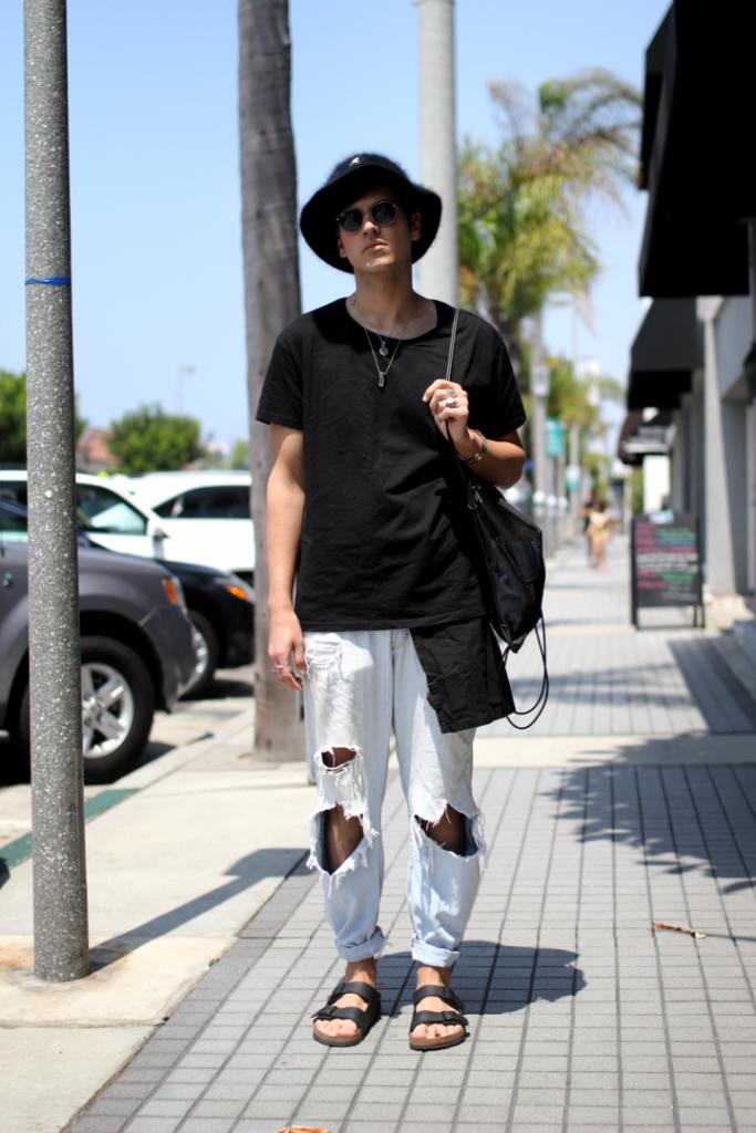 street style, Alexander Wang, Angora, Birkenstock, Bucket Hat, H&M, Hat, Jeans, Kangol, Manhattan Beach, Oak NYC, Sandals,