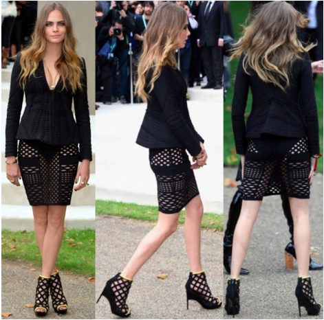 Cara Delevingne at the Burberry Prorsum Spring:Summer 2016 Fashion Show during London Fashion Week held at Kensington Gardens in London, England, on September 21, 2015