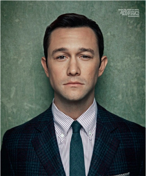 Joseph Gordon-Levitt wearing a Brunello Cucinelli suit, shirt, and tie for Gotham magazine