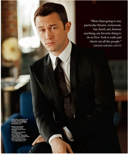 Joseph Gordon-Levitt wearing a Dolce & Gabbana suit, shirt, and tie for Gotham magazine....