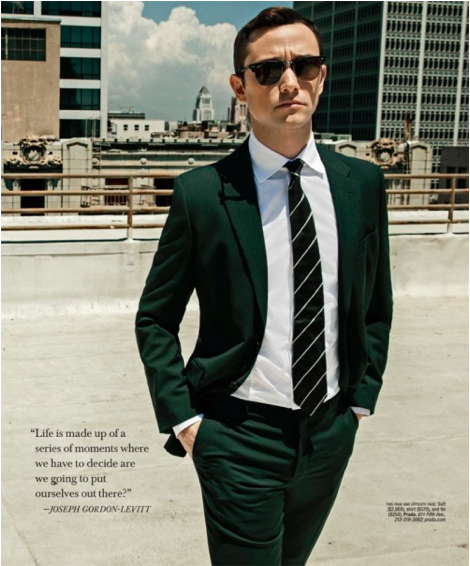 Joseph Gordon-Levitt wearing a Prada suit, shirt, and tie for Gotham magazine..