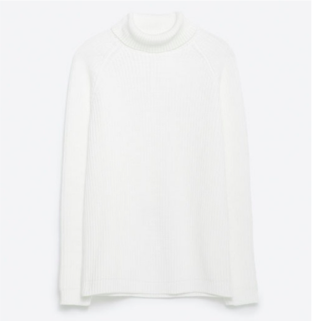 Polo Neck Sweater in White, $59.90