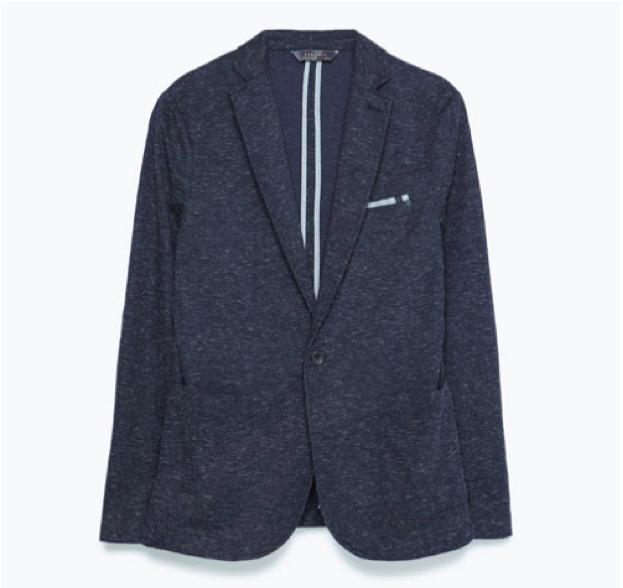 Single-Button Blazer in Navy Blue, $79.90