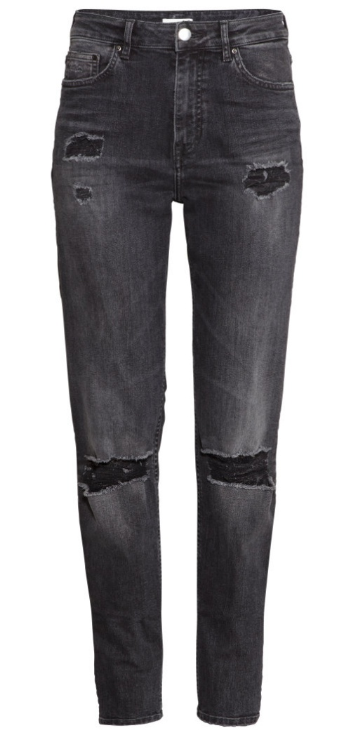 H&M Girlfriend Jeans in Dark Gray