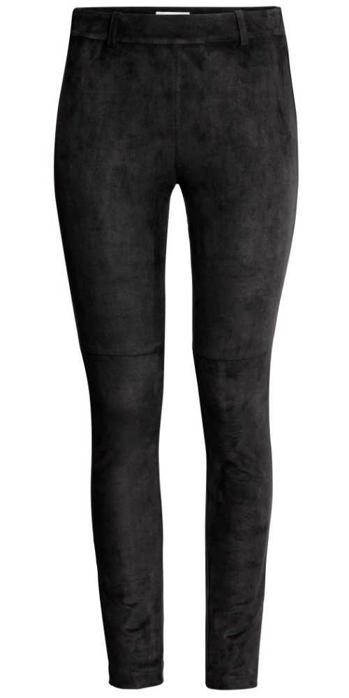 H&M Imitation Suede Pants in Black