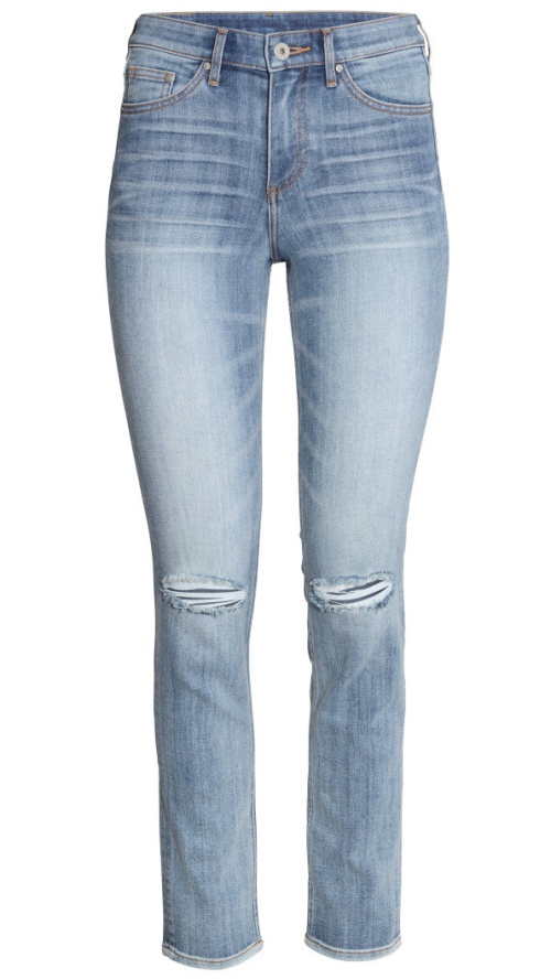 H&M Slim Regular Ankle Jeans in Light Denim Blue