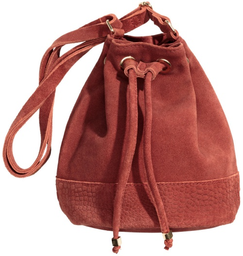 H&M Suede Bag in Rust Red