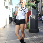 backpack, Boots, brandy melville, Deandri, harness, public desire, shorts, street style, The Grove, Topshop