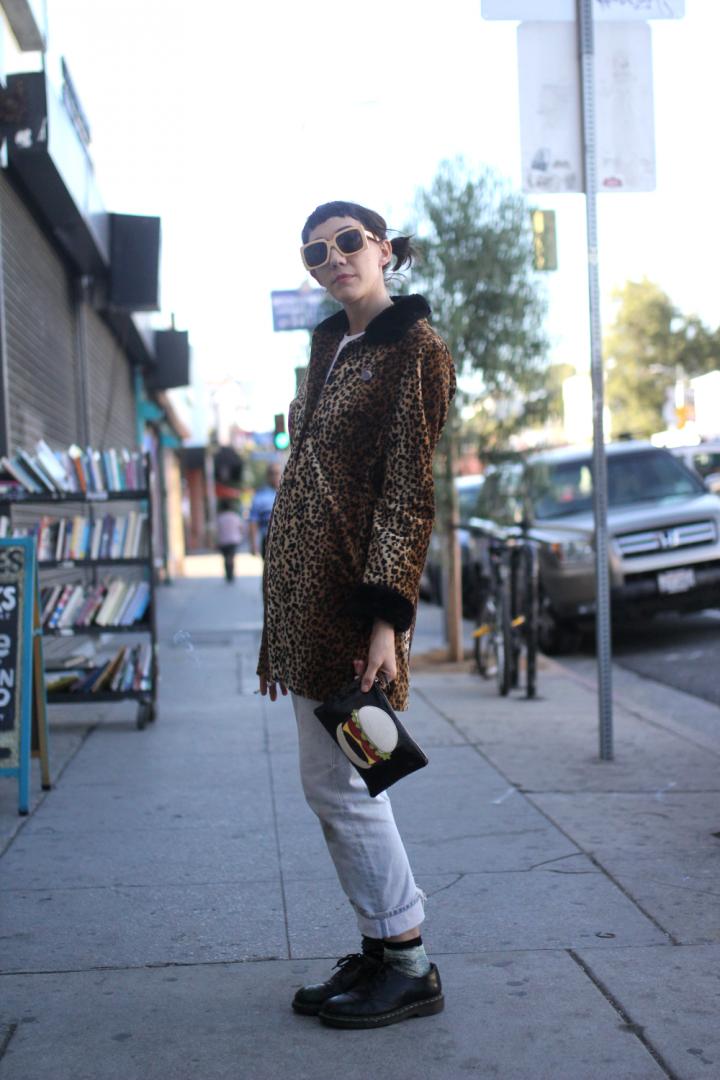 clutch, Dr.Martens, Echo Park, fur, glasses, Jacket, Jeans, leopard, levi's, Socks, street style, Vintage