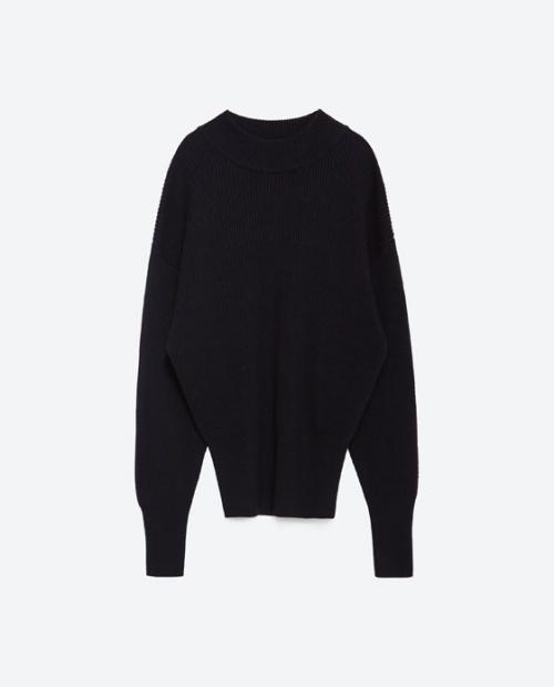 Brioche Stitch Sweater with Wide Sleeves