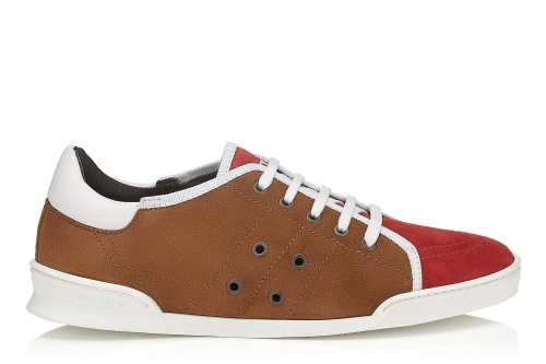 Basil Olympic Red and Chestnut Suede Low-Top Trainers
