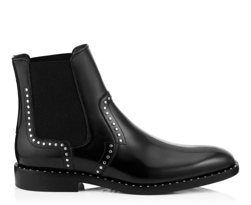 Fergus Black Shiny Calf Leather Boots