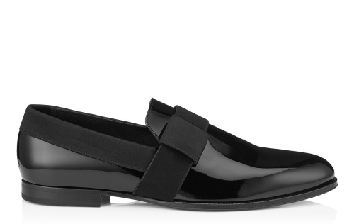 John Black Patent Leather Formal Slippers with Satin Ribbon