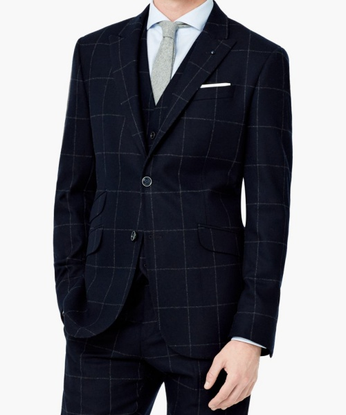 Check Wool Suit Blazer