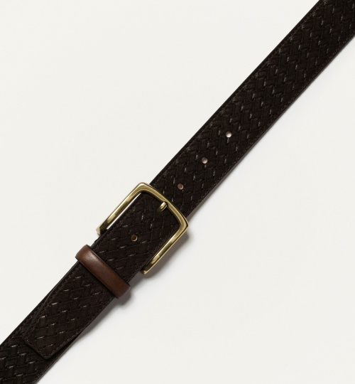 Embossed Split Suede Belt
