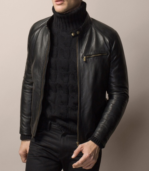 Nappa Leather Jacket with Mandarin Collar