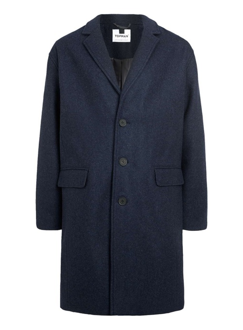Blue Wool Blend Duster Coat