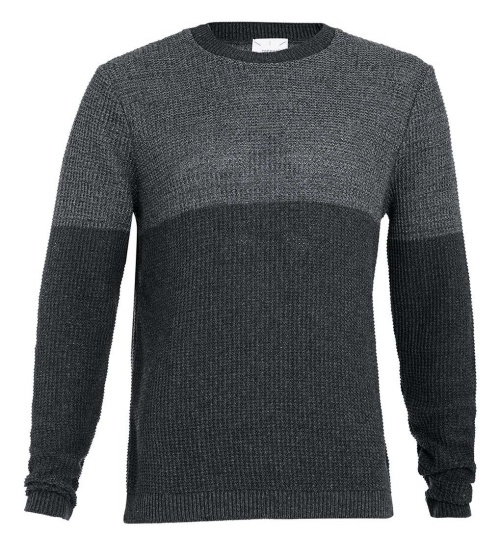 Charcoal Tonal Textured Crewneck Sweater