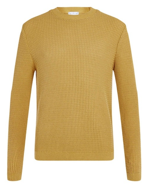 Mustard Grid Textured Crewneck Sweater