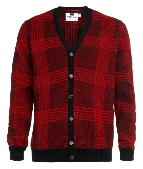 Red-and-Black Check Cardigan