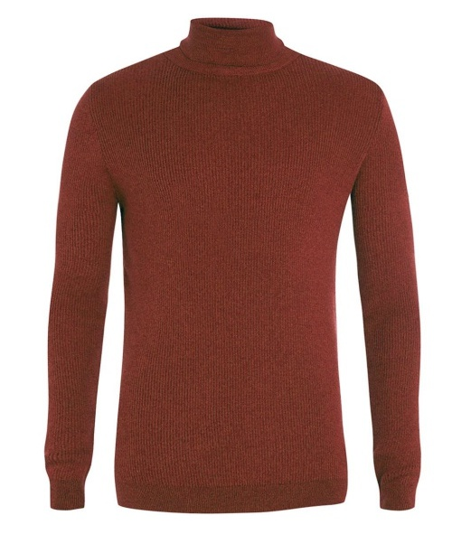 Rust 2x2 Rib Turtleneck Sweater