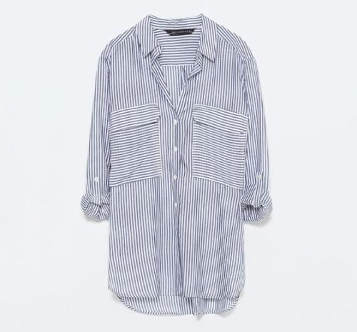 2-Pockets Striped Blouse