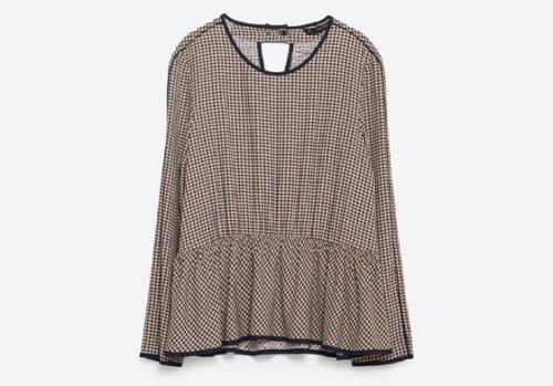 Peplum Check Shirt