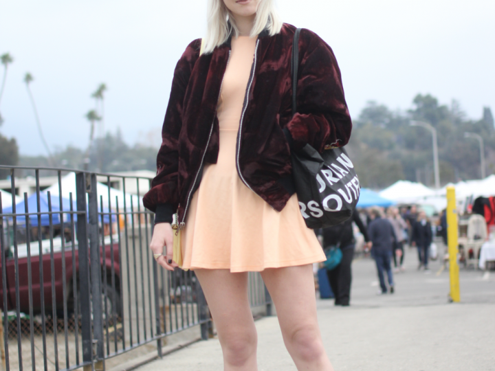 American Apparel, bomber jacket, cap, dress, menace la, rose bowl flea market, street style, Vans, Vintage