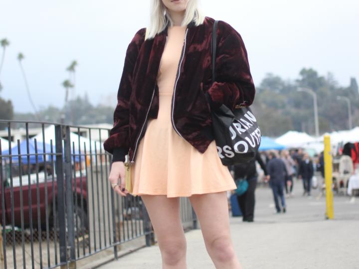 American Apparel, bomber jacket, cap, dress, menace la, rose bowl flea market, street style, Vans, Vintage