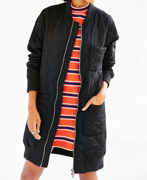 Silence + Noise Long Quilted Bomber Jacket