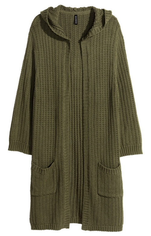 Double-knit Cardigan in Khaki Green