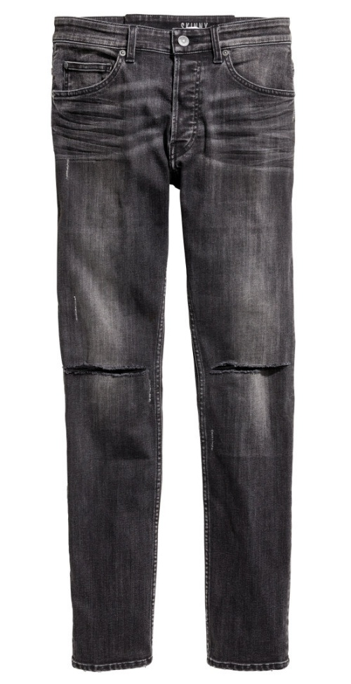 Skinny Regular Trashed Jeans in Dark Gray