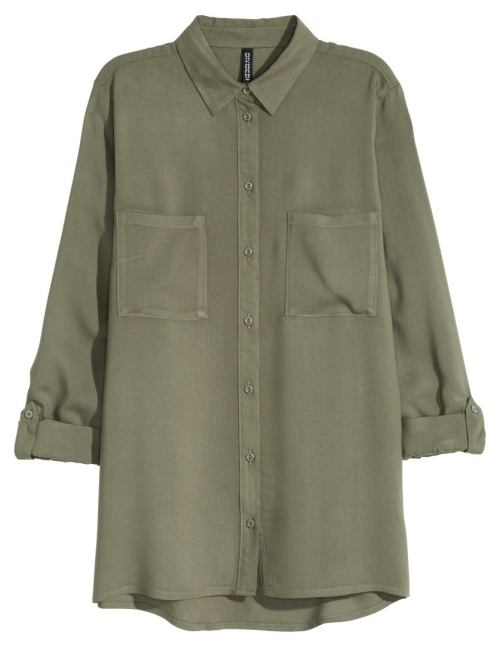 Viscose Shirt in Khaki Green