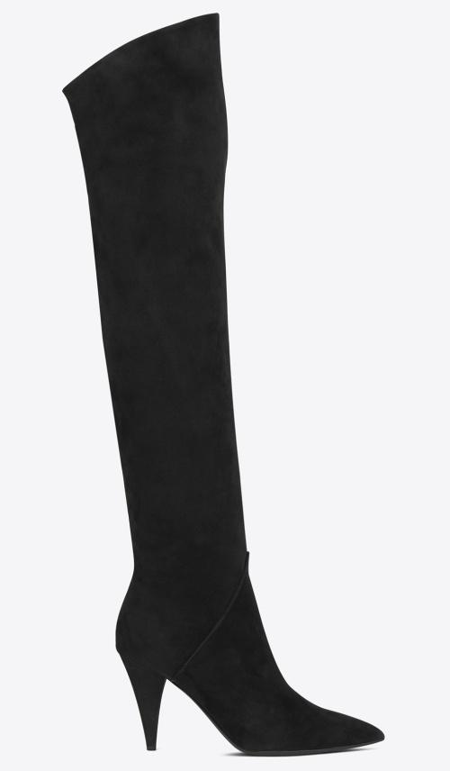 Saint Laurent Cat 90 Boots in Black Suede