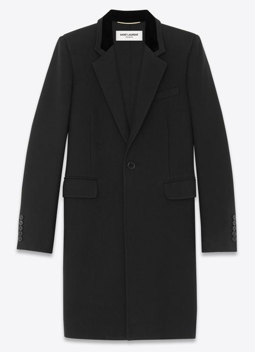 Saint Laurent Chesterfield Military Coat in Black Wool and Velvet
