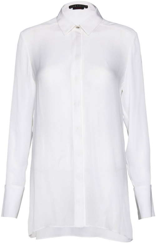 Alice + Olivia Lolita Drop Hem Button-Down with Piping