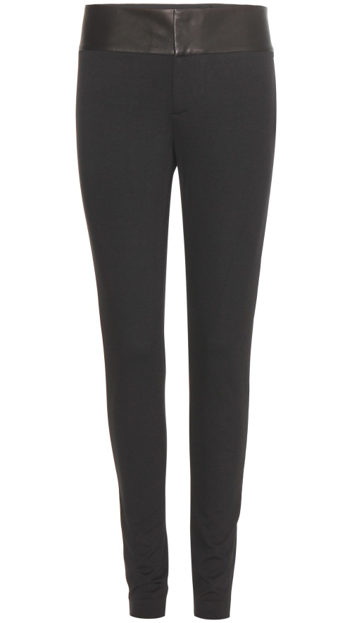 Alice + Olivia Leather-Trimmed Leggings