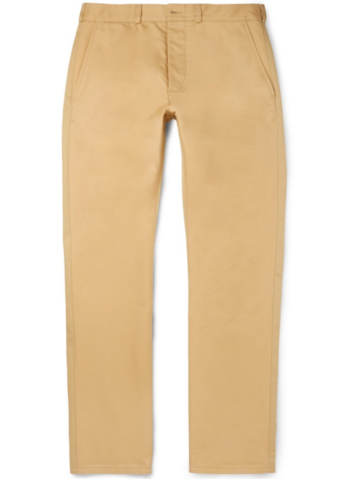 Slim-Fit Two-Tone Cotton-Twill Chinos