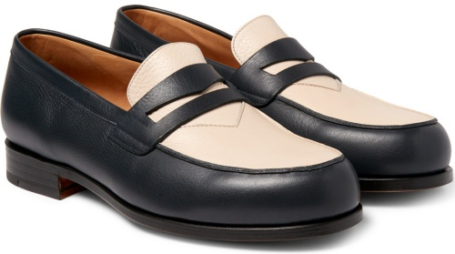 Two-Tone Grained-Leather Penny Loafers