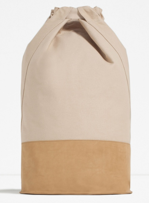 Drawstring Bag Backpack with Contrasting Base