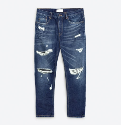 Denim Trousers with Large Rips