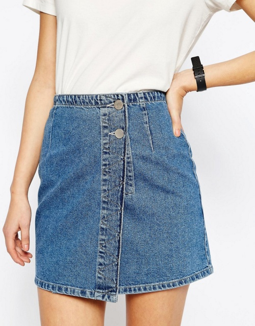 ASOS Denim Pelmet Mini Skirt with Wrap Front in Stone Wash