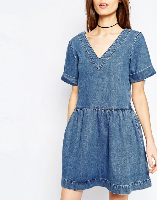 ASOS Denim Smock Dress in Mid-Wash Blue