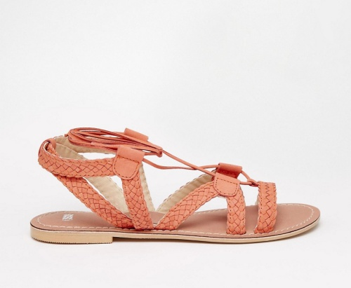 ASOS FOR LOVE Tie-Up Leather Sandals