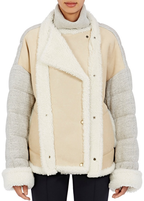 Chloe Jersey-Back Shearling Double-Breasted Coat