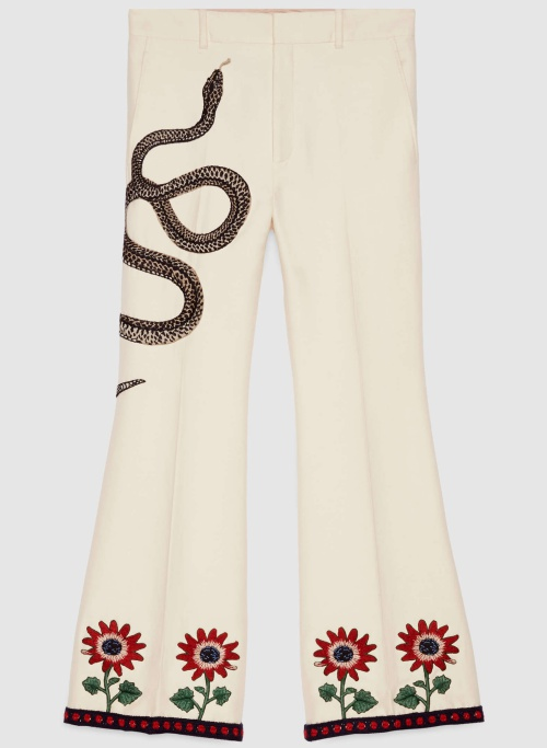 Gucci Embroidered Ankle Flare Pant